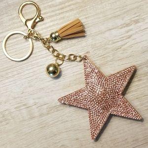 Bling star keychain or purse charm